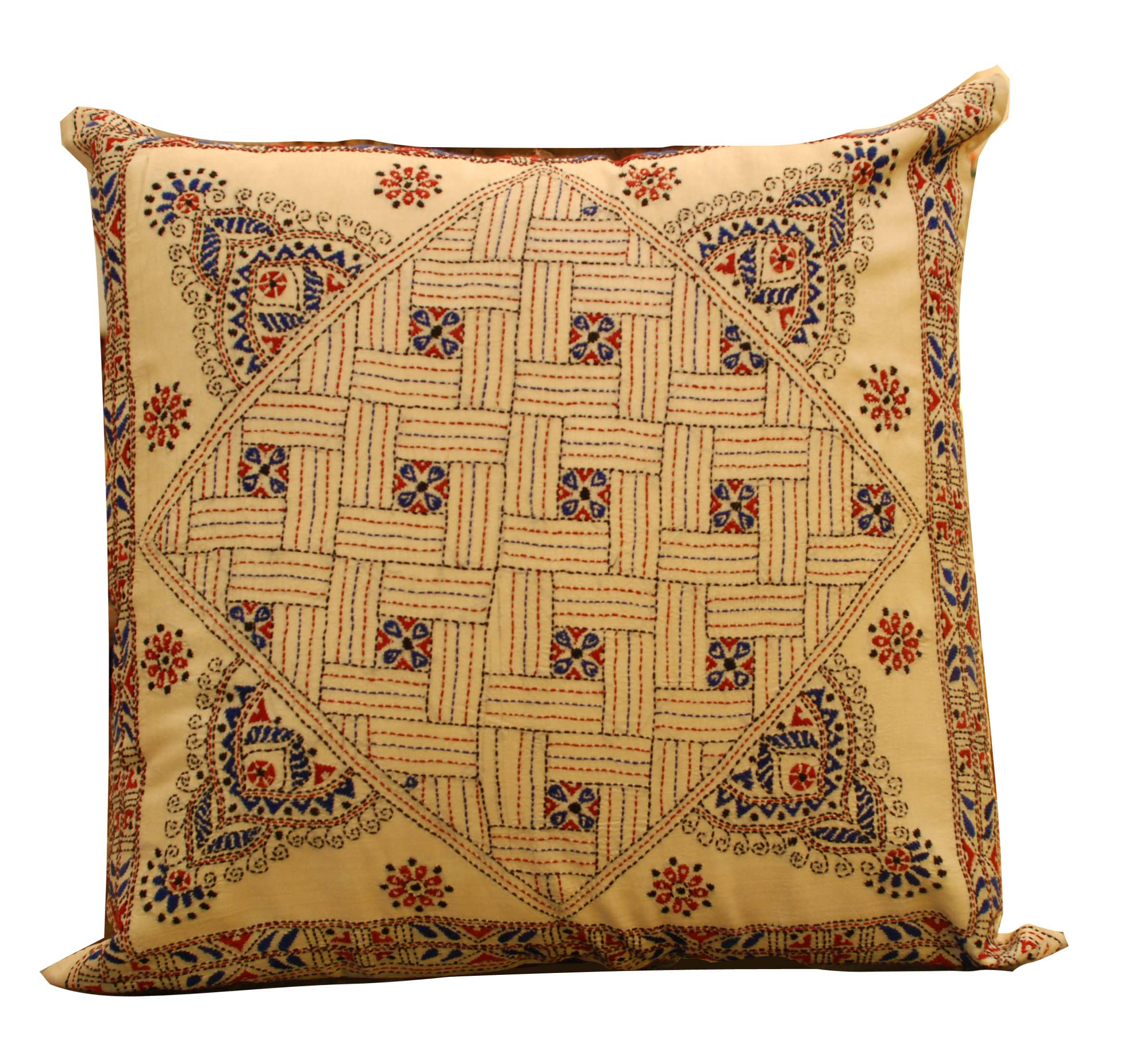 ornina handmade ocu8 embroidered silk cushion